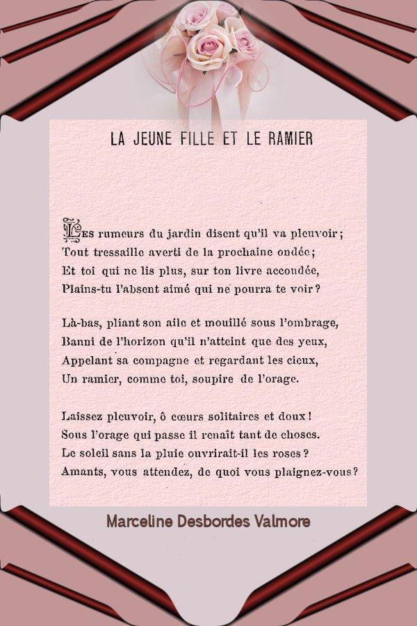 La jeune fille et le ramier. Marceline Desbordes Valmore. dans Textes choisis la-jeune-fille-et-le-ramier
